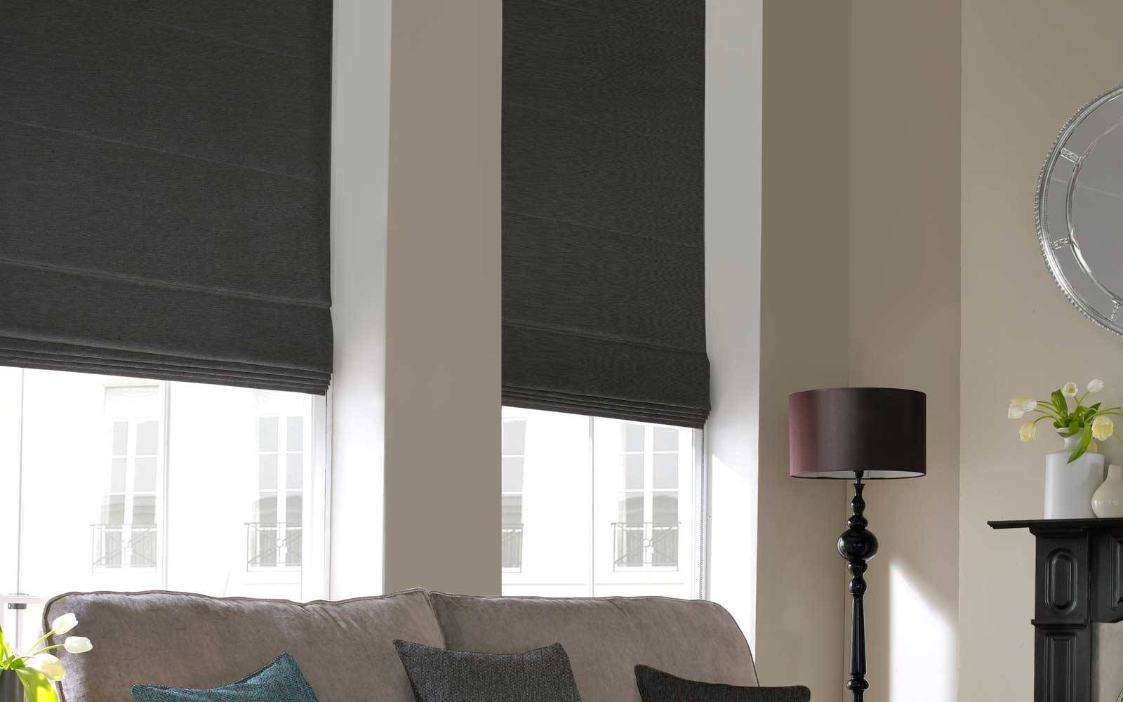 Echo Charcoal Blackout Roman Direct Blinds And Curtains